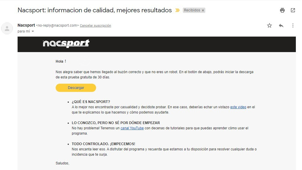 Correo Descarga Nacsport