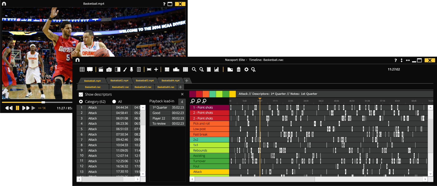 Timeline, registers and options nacsport Elite
