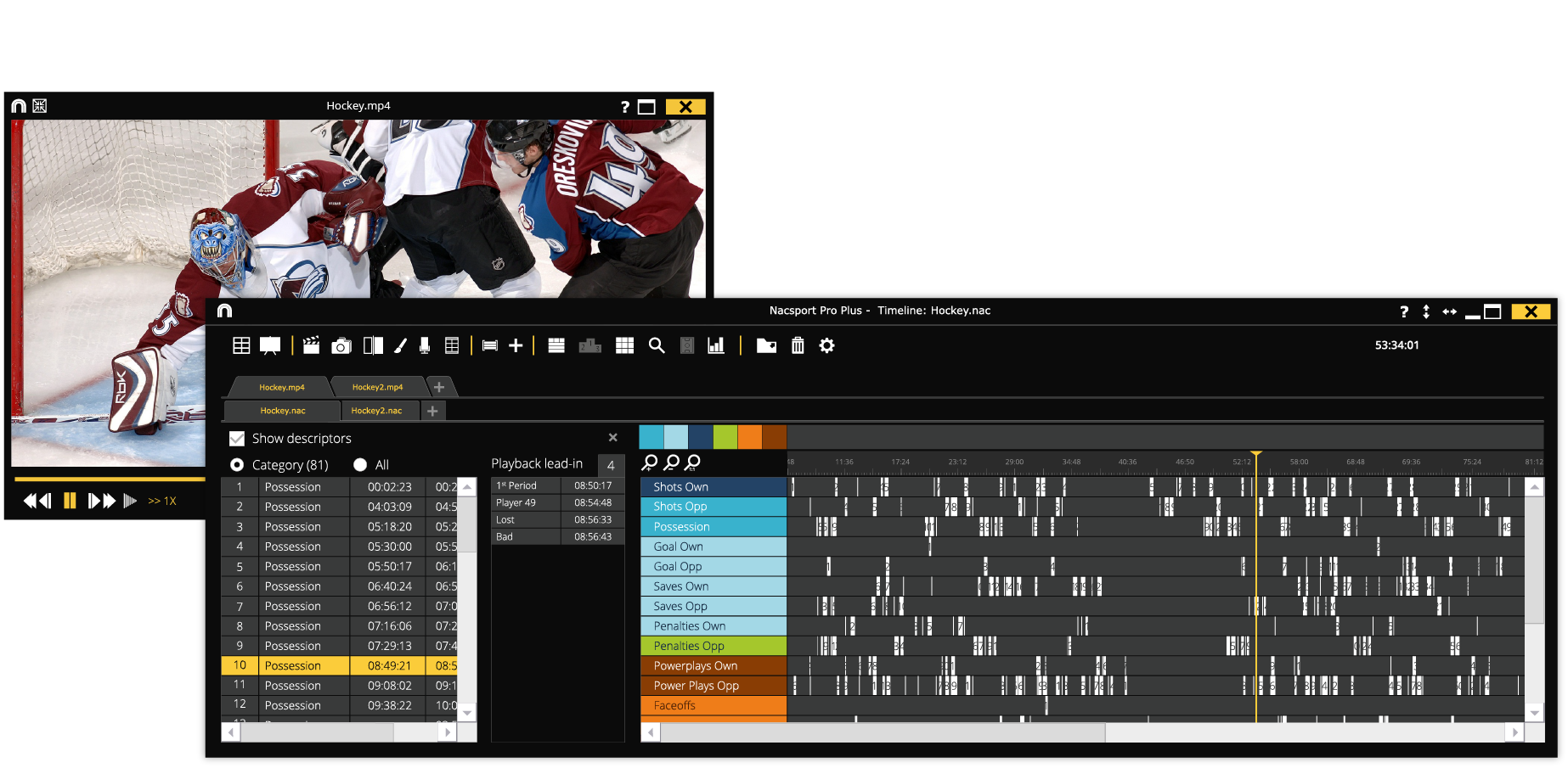 Timeline and playback nacsport Pro Plus