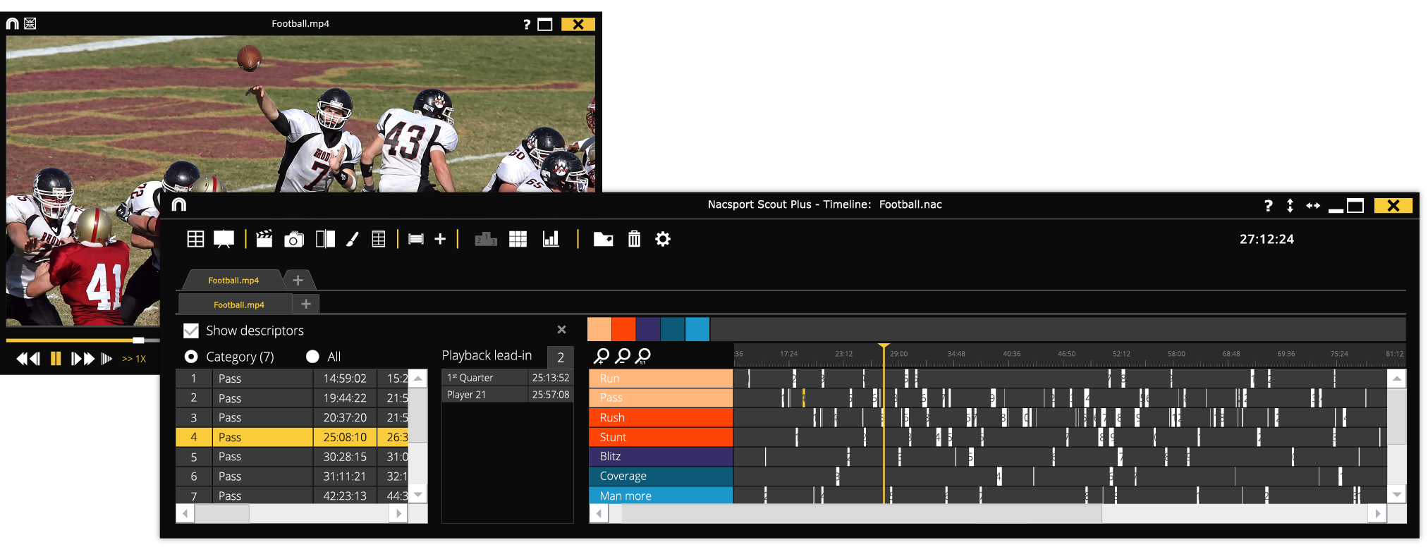 Timeline and playback nacsport Scout Plus
